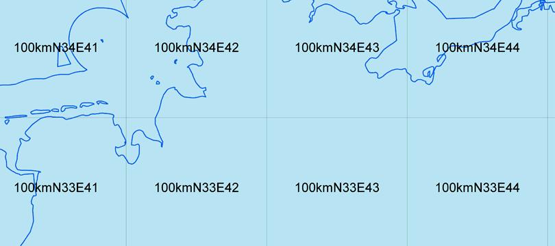 Geographische Gitter für Deutschland in Lambert-Projektion
