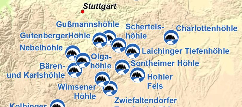 Themenkarte: Schauhöhlen in Deutschland