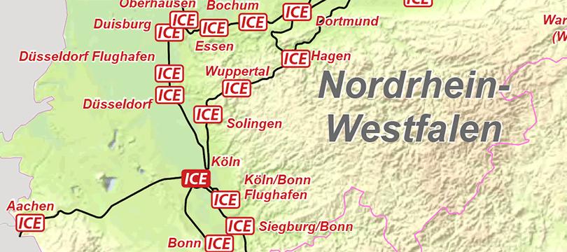 Themenkarte: ICE-Bahnhöfe und der Streckenverlauf in Deutschland