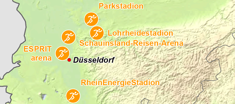 Themenkarte: Orte mit Leichtathletikmeisterschaften seit 1946 in Deutschland