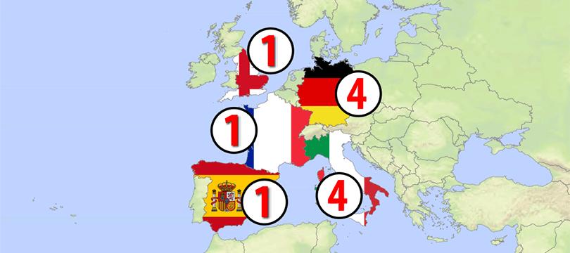 Themenkarte: die bisherigen FIFA-Fußballweltmeister