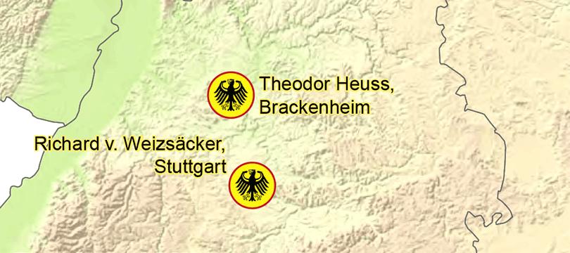 Themenkarte: Geburtstorte der deutschen Bundeskanzler und Bundespräsidenten