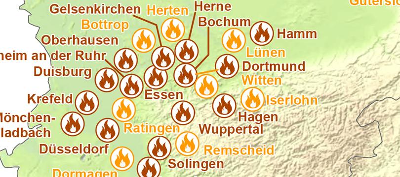 Themenkarte: Berufsfeuerwehren in Deutschland
