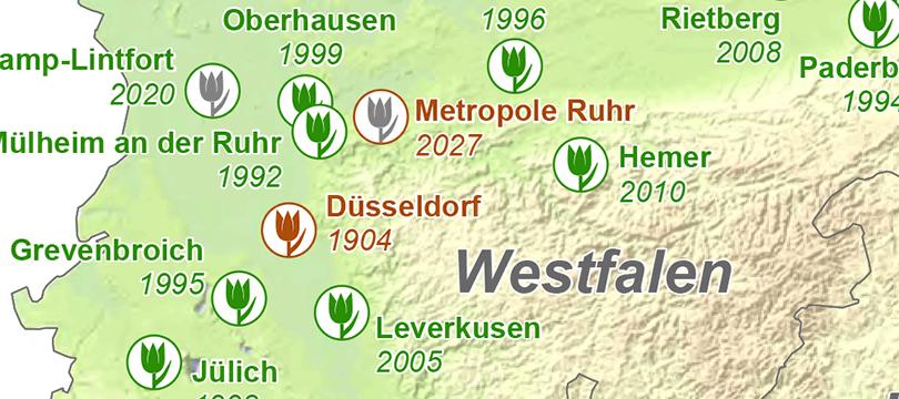 Themenkarte: Landesgartenschauen und Internationalen Gartenbauausstellungen in Deutschland