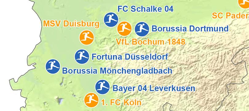 Themenkarte: Fußballvereine der 1. und 2. Bundesliga zur Saison 2018/2019 in Deutschland