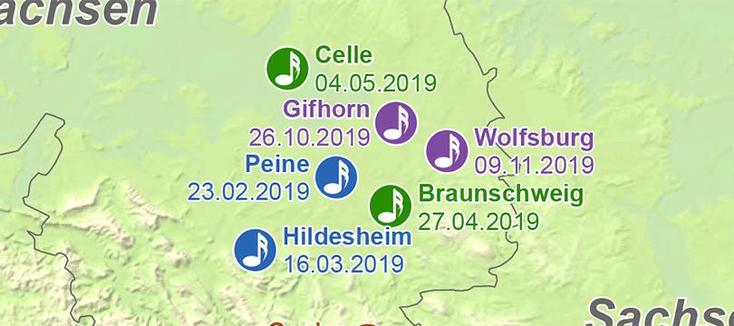 Themenkarte: Honky Tonk Standorte 2019 in Deutschland