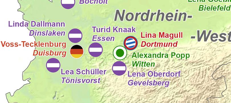 Themenkarte: Geburtsorte der deutschen Fußballnationalmannschaft der Frauen