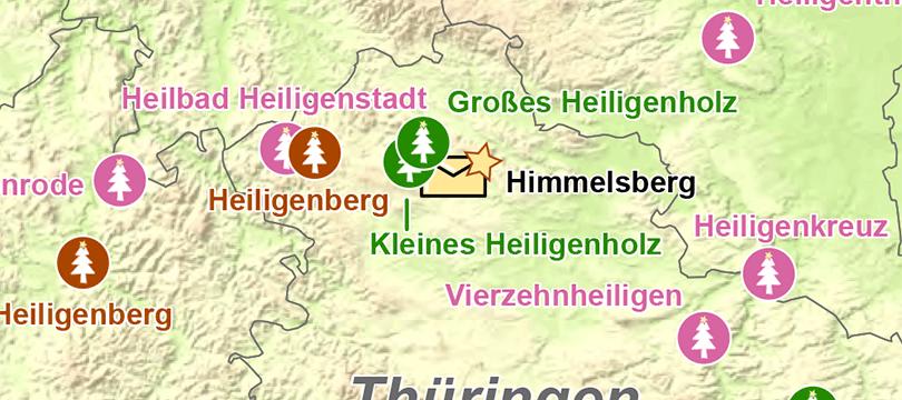Themenkarte: Auswahl geographischer Namen rund um den Heiligen Abend