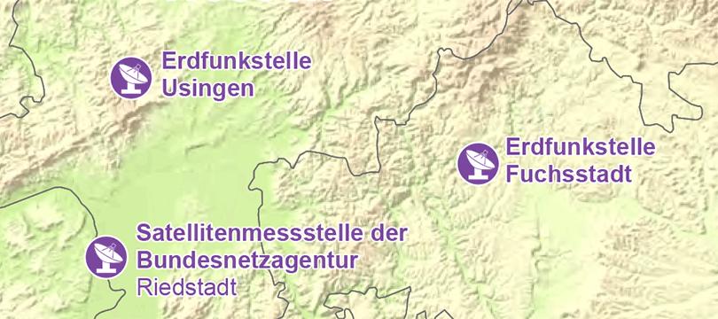 Themenkarte: Radioteleskope und Erdfunkstellen in Deutschland