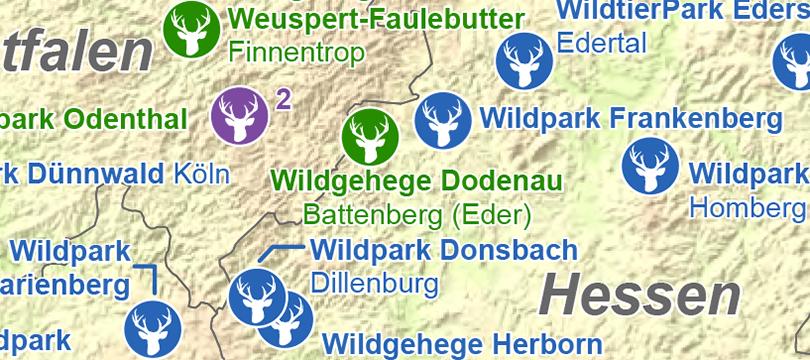 Themenkarte: Safari- und Wildparks in Deutschland