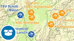 Themenkarte: Damen- und Herren-Bundesligaklubs (Kegeln) der Bundeligasaison 2016/2017 in Deutschland