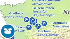 Themenkarte: Geburtsorte deutscher Nationalspieler zur Fussball-WM 2018