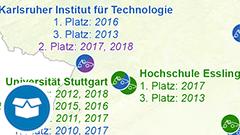 """Themenkarte: Gewinner der """"Formula Student Germany"""" seit 2010"""
