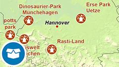 Themenkarte: Freizeitparks in Deutschland