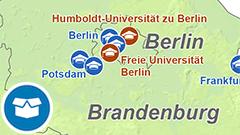 Themenkarte: staatliche Hochschulen mit Promotionsrecht in Deutschland