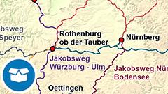 Themenkarte: Jakobswege in Deutschland