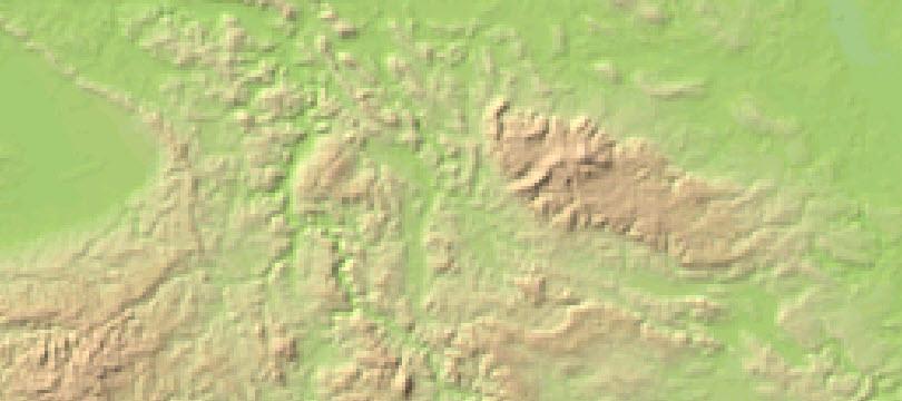 Digitales Geländemodell Gitterweite 1000 m
