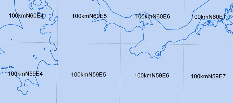 Geographische Gitter für Deutschland in UTM-Projektion