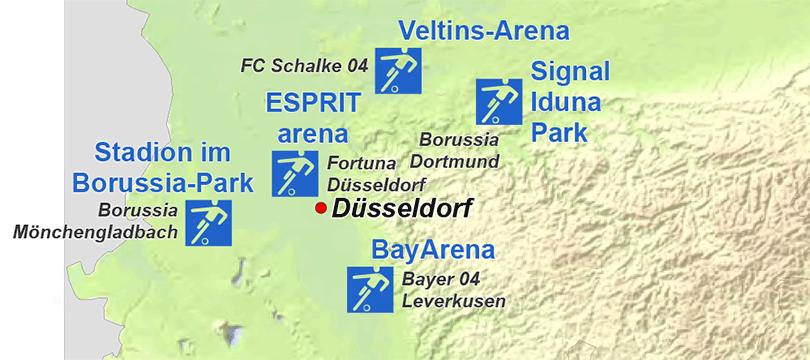 Themenkarte: Stadien der 1. Fußballbundesliga in der Saison 2012/13