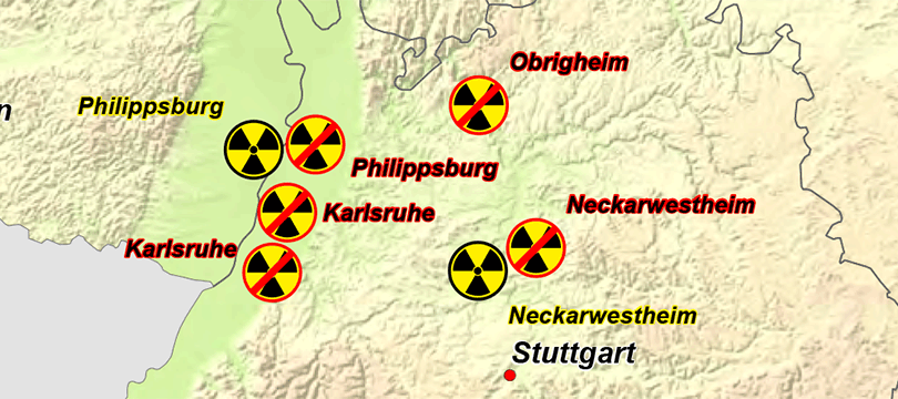 Themenkarte: Kernkraftwerke in Deutschland
