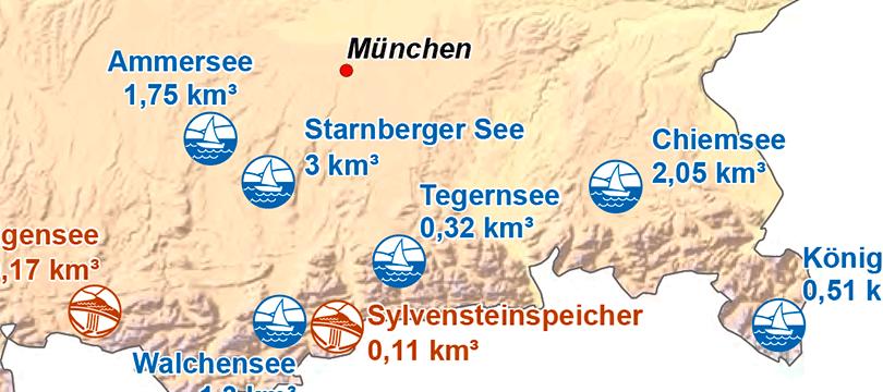 Themenkarte: Seen und Stauseen in Deutschland