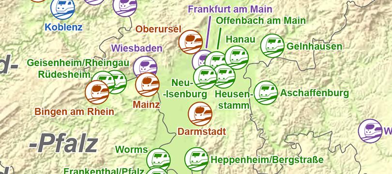 Themenkarte: Nach welchen Städten und Gemeinde ICE-Triebzüge benannt sind