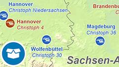 Themenkarte: Standorte von Rettungshubschraubern in Deutschland