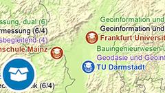 Themenkarte: Hochschulstandorte mit Studiengängen der Geoinformationstechnologie in Deutschland