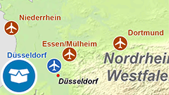 Themenkarte: internationale und Regionalflughäfen in Deutschland