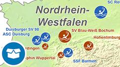 Themenkarte: die deutschen Wasserballmeister im Damen- und Herrenbereich.