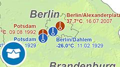 Themenkarte: Temperaturrekorde in Deutschland